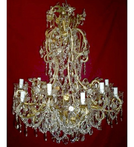 Antique 19th Century Floral Modern Crystal Drop 12 Light Chandelier.