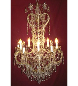 Antique Crystal Drop 10 Light Chandelier.
