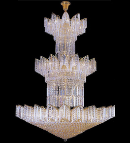 Tiered star shaped crystal chandelier