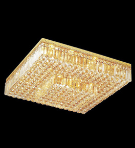 Surface mounted 22 light square crystal chandelier