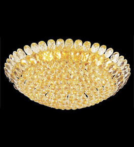 Surface mounted 21 light dome crystal chandelier