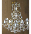 18th Century Pristine Kite Crystal Drop 12 Light Chandelier.