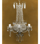 Elegant Crystal Drop 6 Light Regency Style Chandelier.