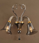 2 Arm Murano Style Bell Wall Light
