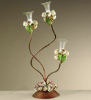 Roseto Design Desk Lamp With Painted Rose Details & Clear Glass