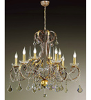 Ottocento Design Chandelier with Hand Worked Metal Frame and Crystals