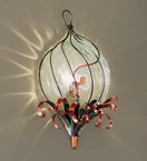Soffiati Design wall lamp in the shape of a flower bud Made from iron & blown glass