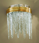 Stalattite Design Curved Wall Lamp with Ice Effect Glass