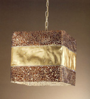 Forme design square metal chandelier that has drill & flame cut details