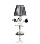 Paris Design Chrome Framed Table Lamp with Black Roses