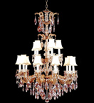 19th century design tiered crystal drop chandelier
